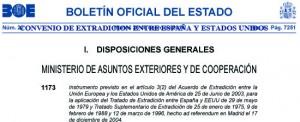 Convenio extradicion de España y Estados Unidos
