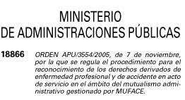 Orden Ministerio Administraciones Publicas Lesiones acto servicio