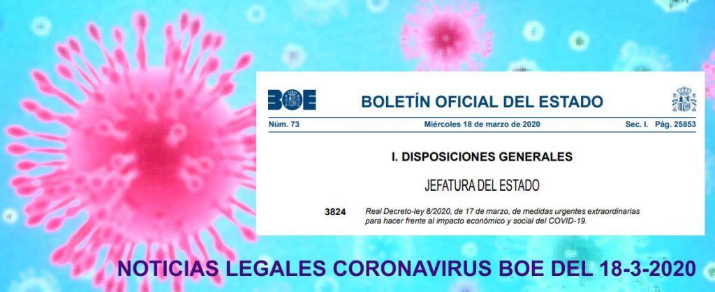 Noticias jurídicas coronavirus boe 18-3-20