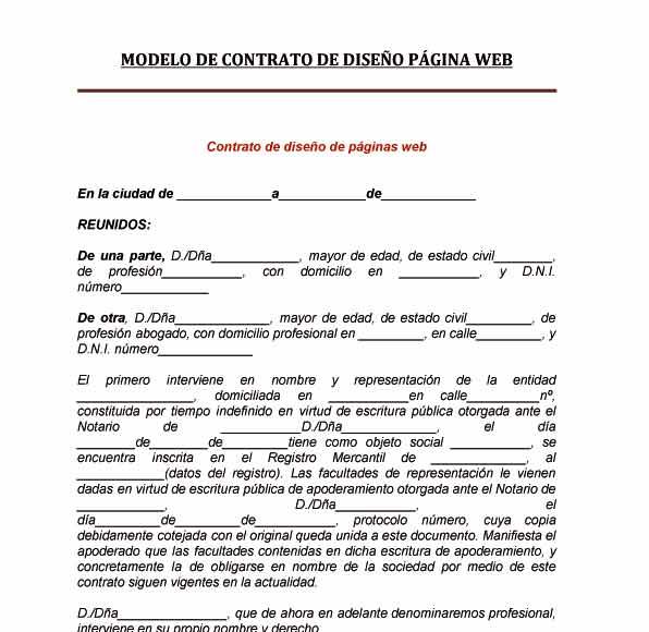 Modelo de contrato diseño página web  Tu abogado defensor