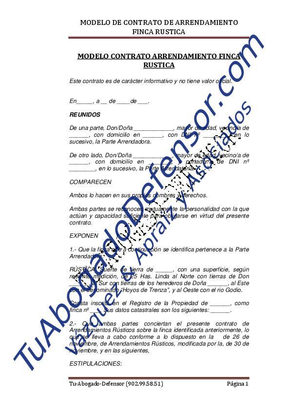 Modelo de contrato arrendamiento finca r stica for Modelo demanda clausula suelo