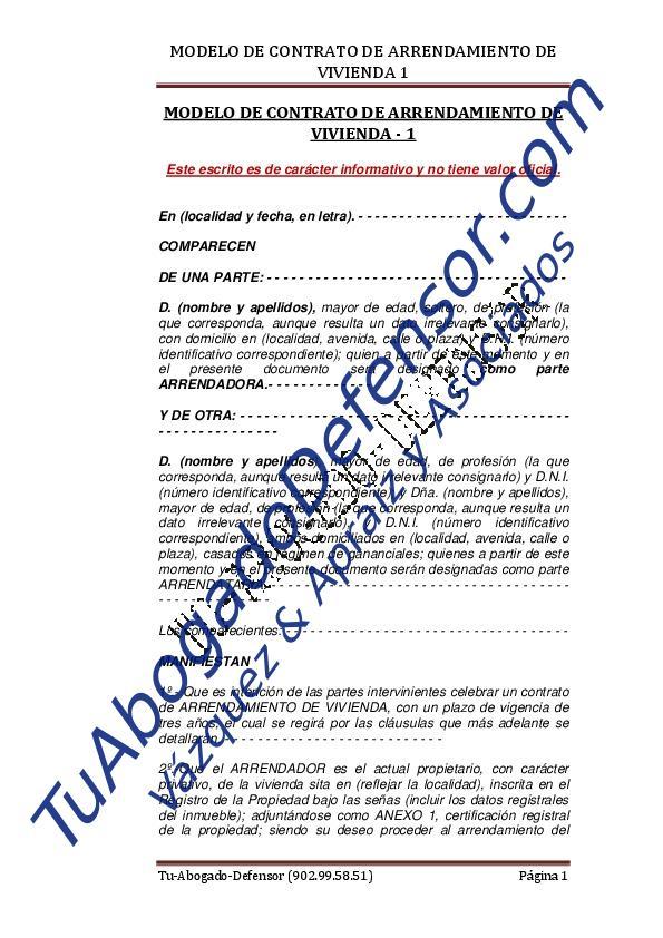 Modelo de contrato de arrendamiento de vivienda 1 | Tuabogadodefensor