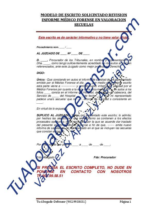 Modelo de escrito solicitando revisión informe médico forense por ...
