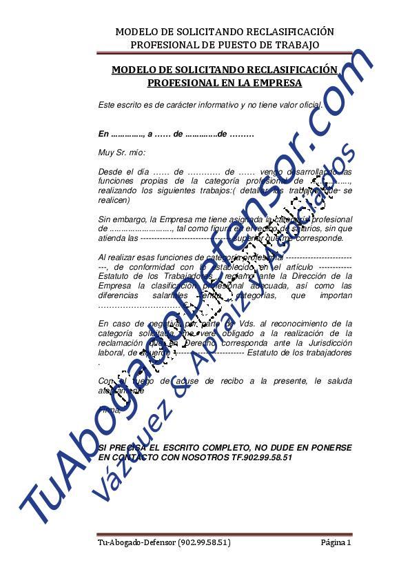 Modelo de solicitud reclasificación profesional puesto trabajo ...