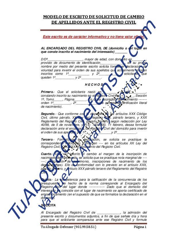 Modelo solicitud de cambio de apellidos ante el registro civil ...